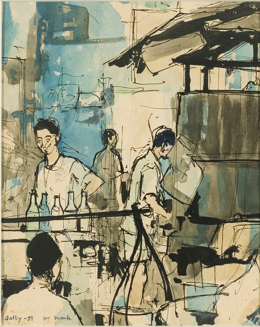 Hawker Stalls, 1959, Ink &  Watercolour on Paper, 26cm x 21cm, Collection of National Visual Arts Gallery, Malaysia