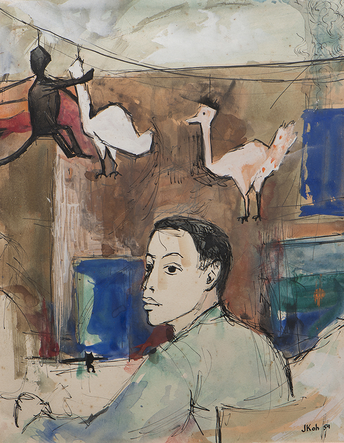 Self Portrait, 1959, Mix Media on Paper, 29cm x 22xm, Private Collection