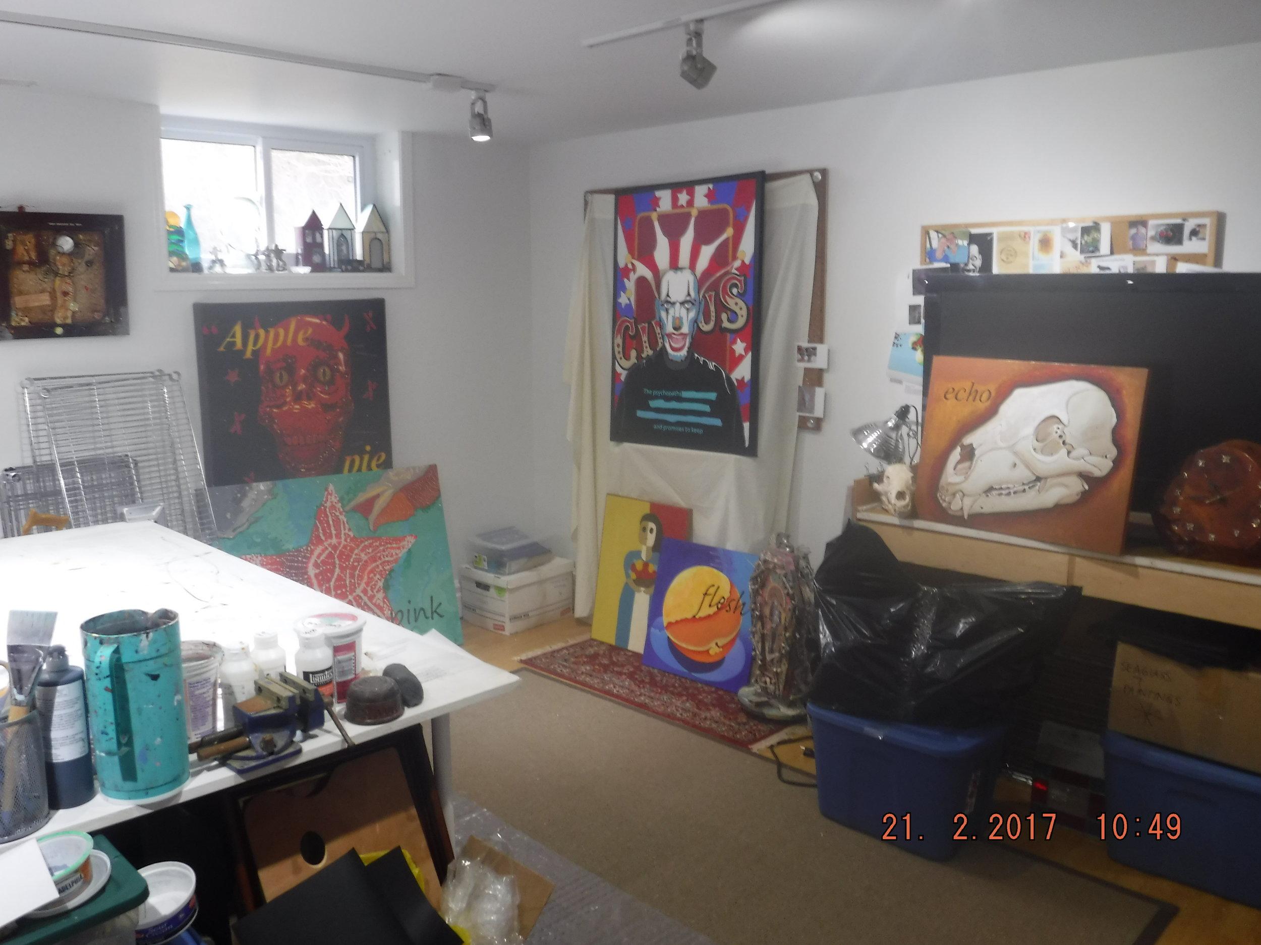 My studio, aka 'the 8th circle of hell'.