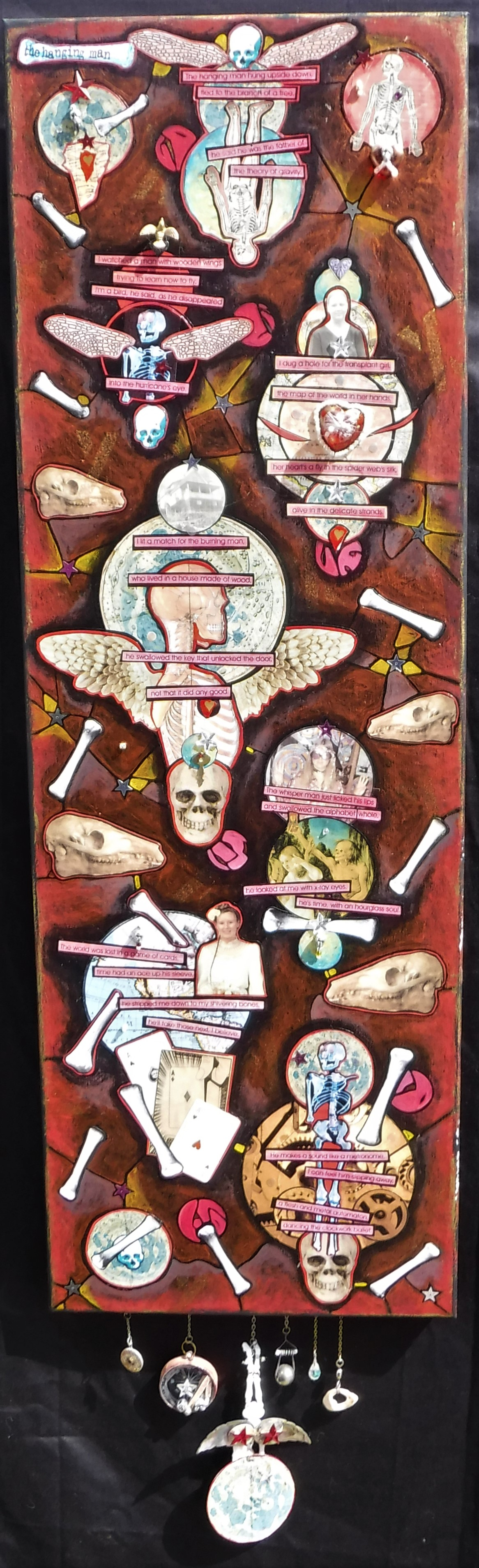 """the hanging man"" - mixed-media collage on canvas, acrylic paint, found altered objects, text."