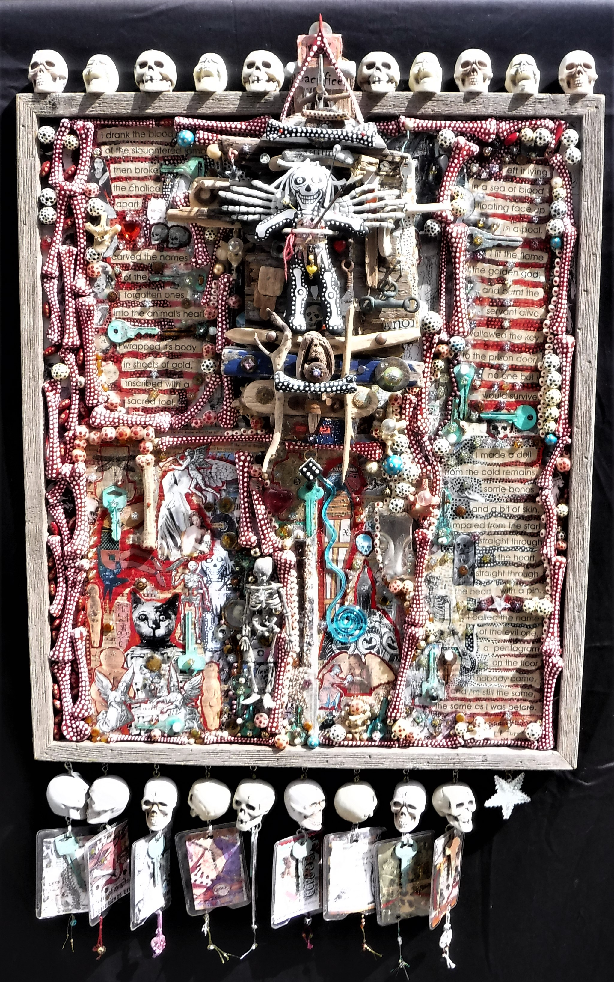 """sacrifice"" - mixed-media collage on board, acrylic paint, found objects, text."