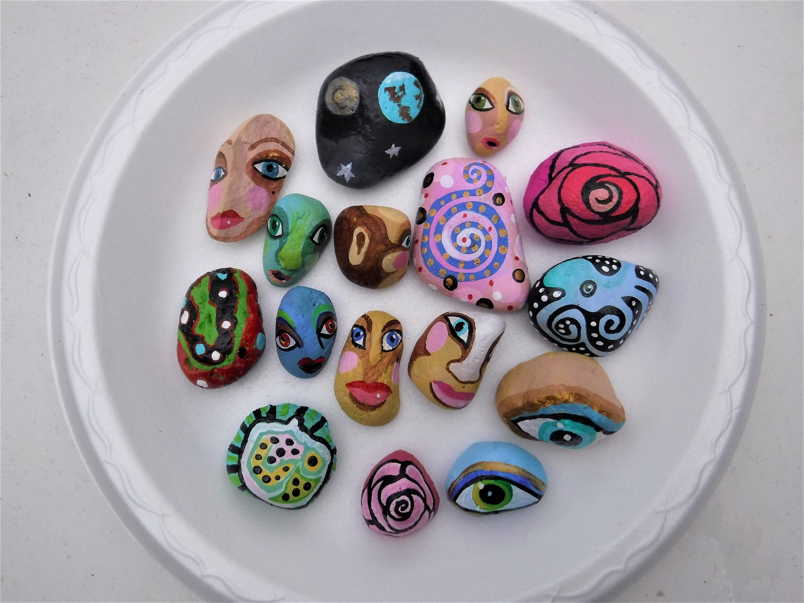 Paris painted rocks Jo Forrest Sept 26 2018.JPG