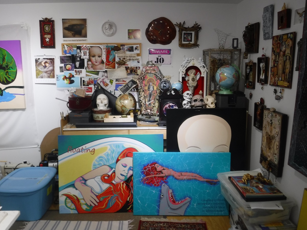 Studio, 'floating', and shark-puppet-barbiedoll paintings.