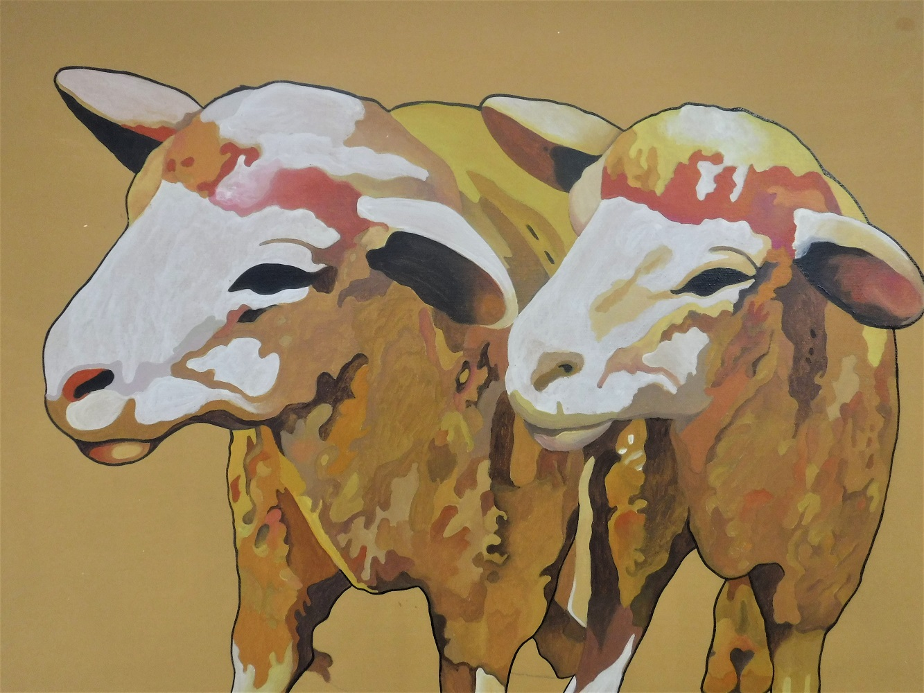 sheep painting, close up.