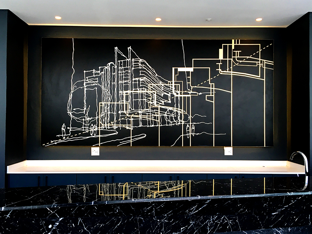 Citadel , Printed illustration on wallpaper, gold leaf finish, 1.7 m x 3.6 m, Curated by Robert Silke and Partners, Cape Town, 2016.