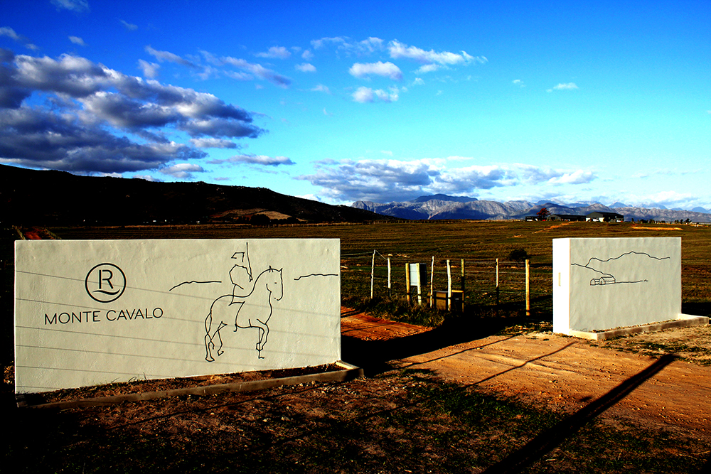 Monte Cavalo , Acrylic paint mural, 1.8 m x 8 m, Paarl, 2012.
