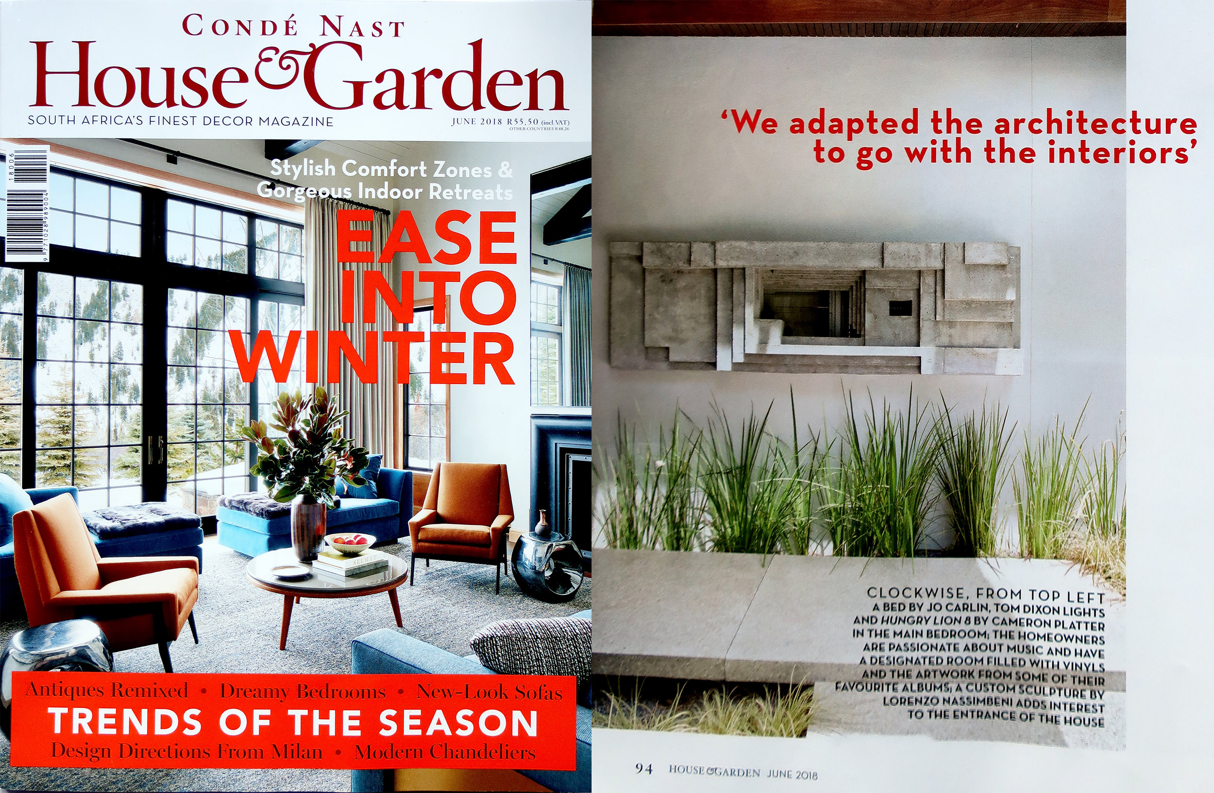 House and Garden July 2018   Recent feature in House and Garden SA of sculpture in Cape Town for a house by Antonio Zaninovic Architecture Studio.
