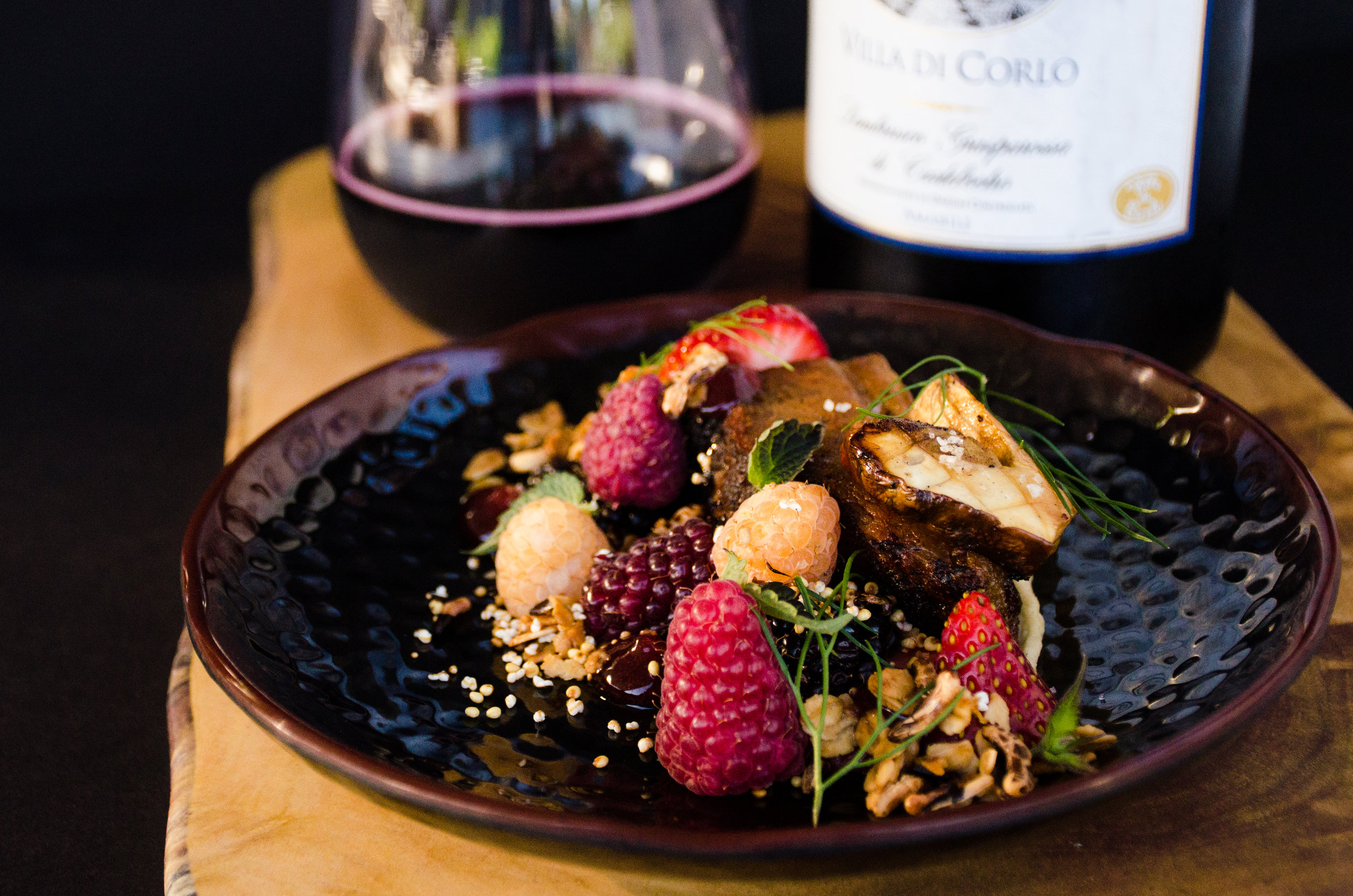 Pork Belly, Summer Berries, Lambrusco