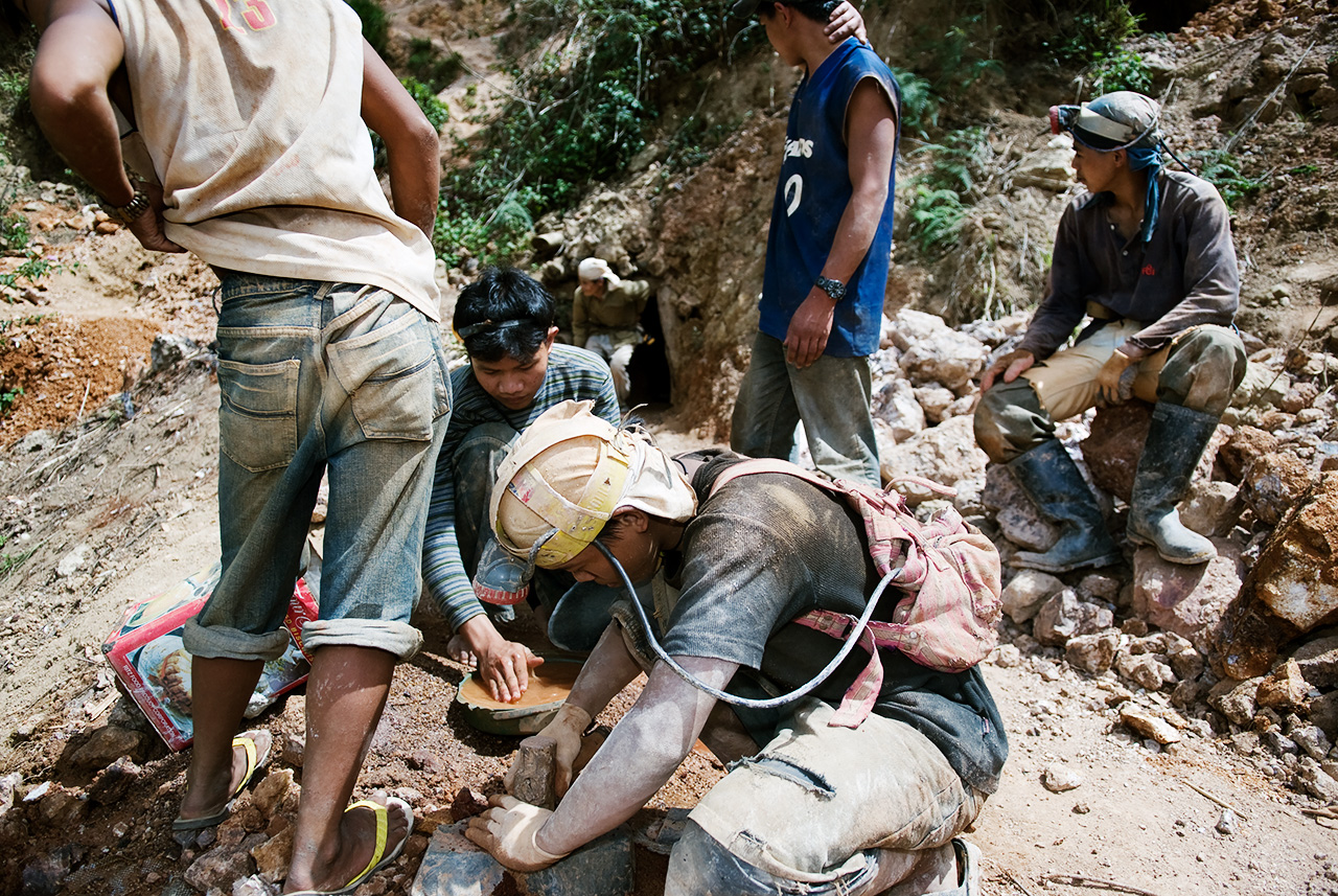 Gold miners at work.