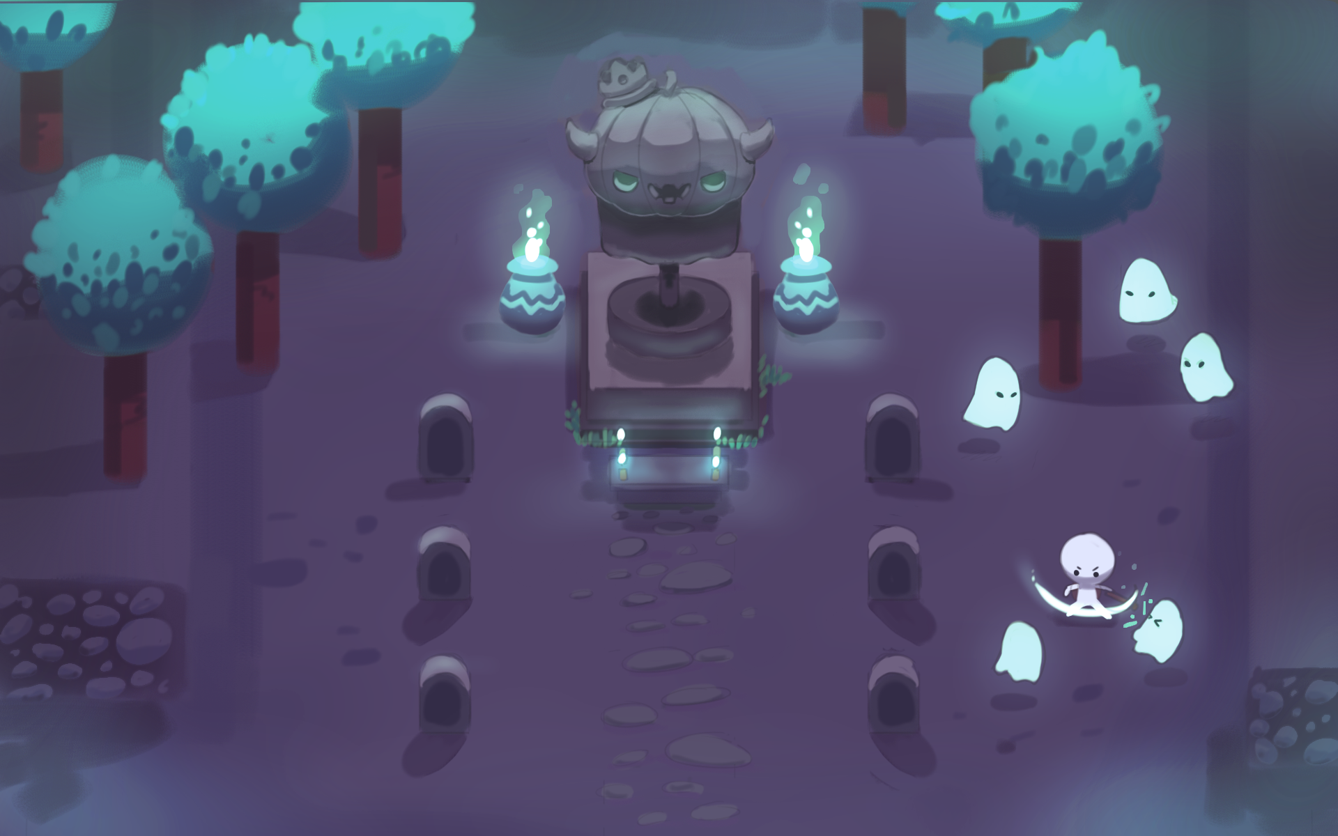 Spooky graveyard concept art by @Gaziter