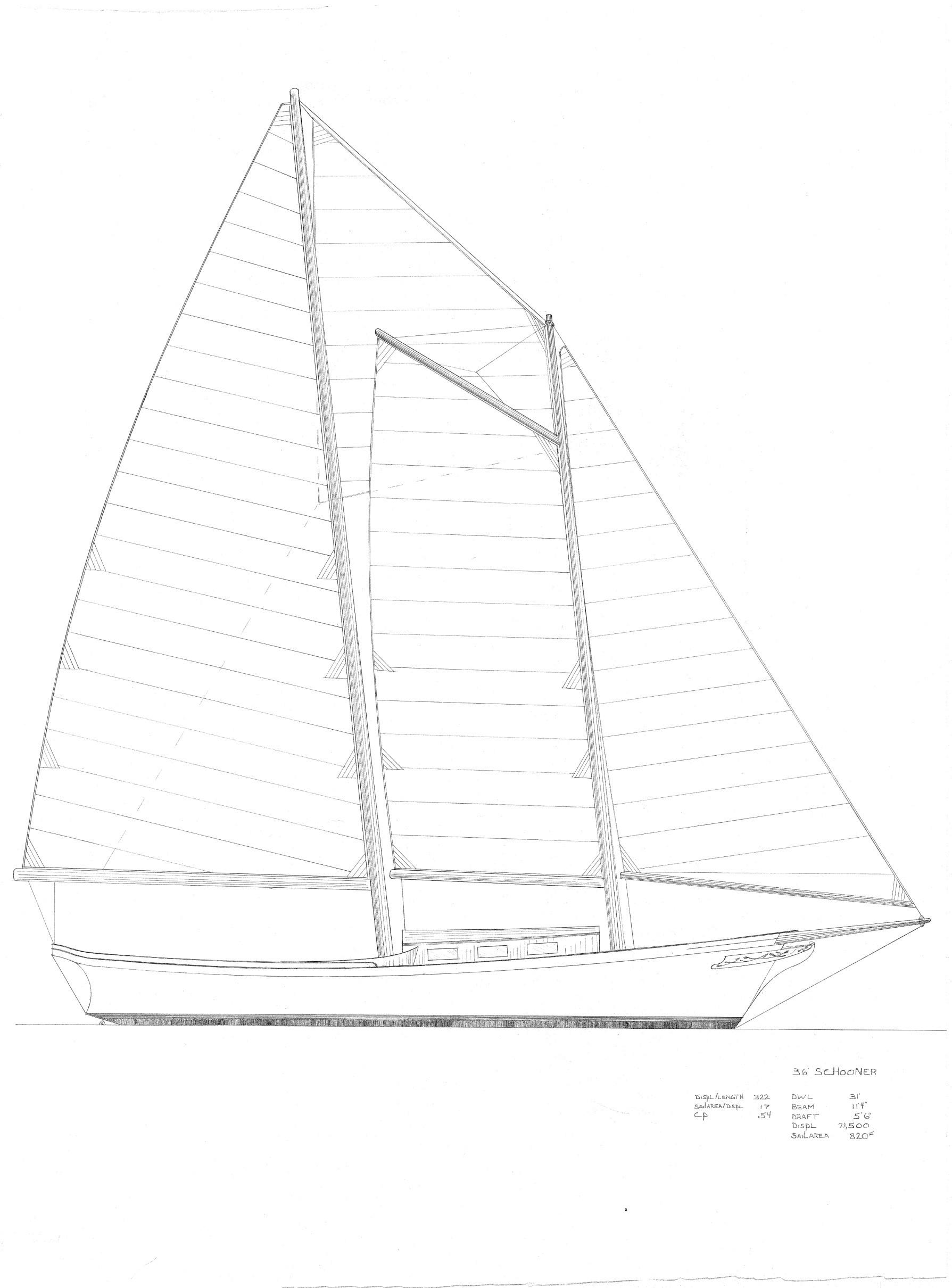 36' Daysailer Schooner. Rieff Design.