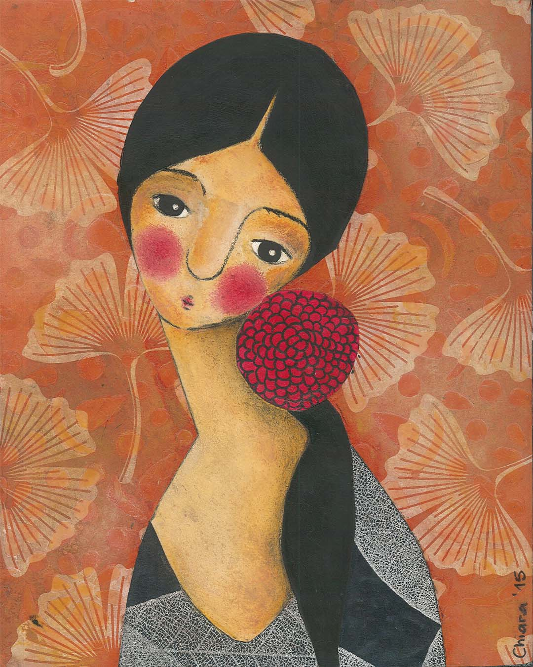 Self Portrait With A Red Flower