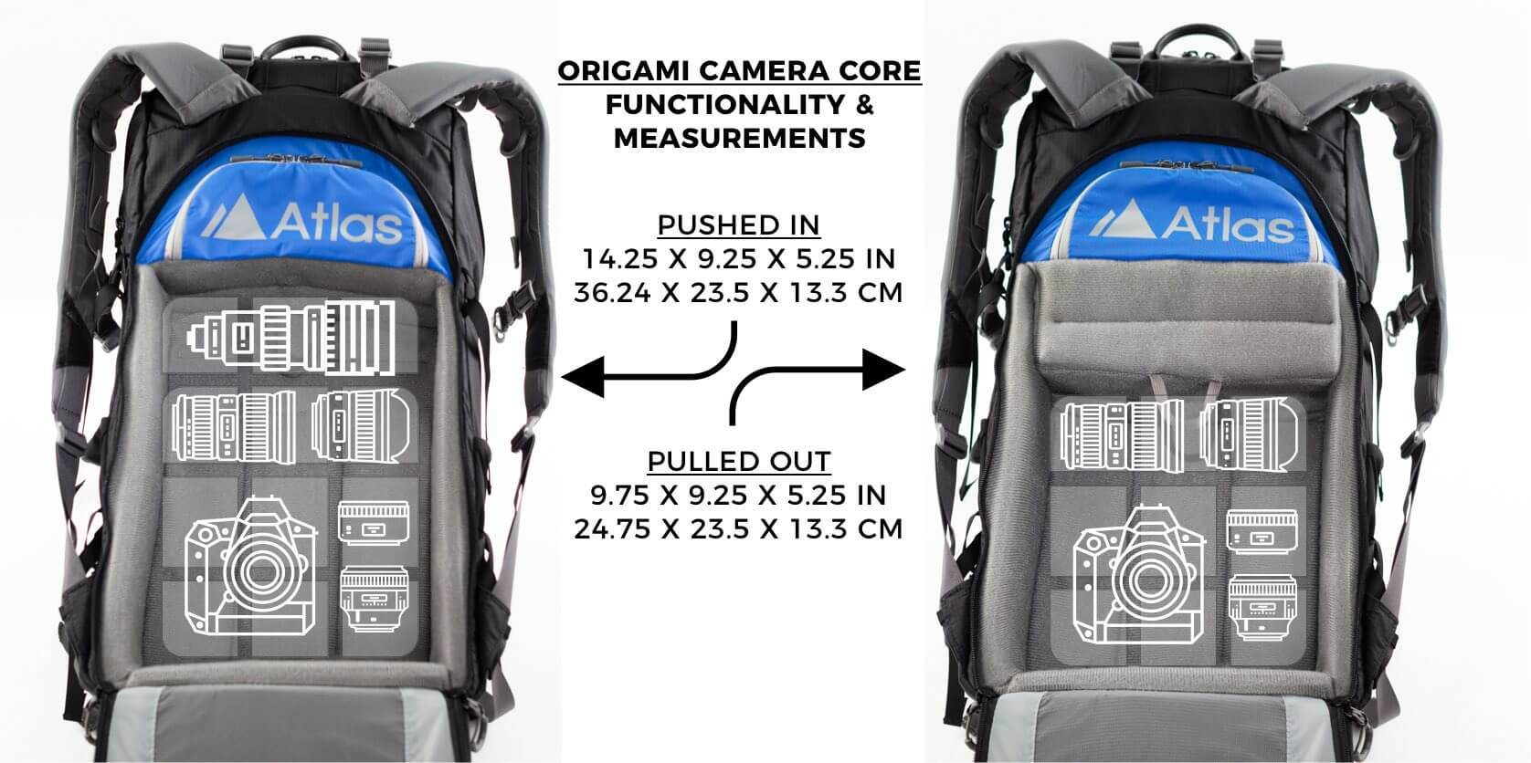 The useful function of the origami system allowing you to choose between extra camera gear or storage.