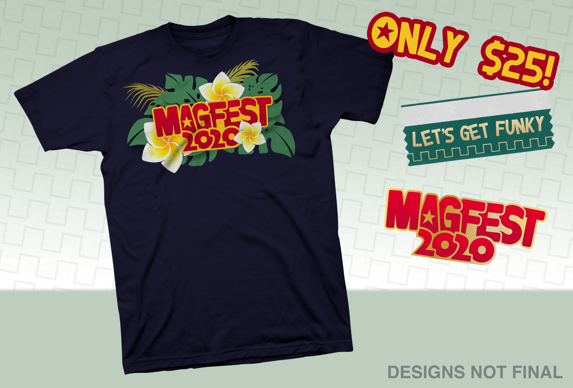 T-Shirt Tier - For a mere $25, you'll get an exclusive never-to-be-sold-anywhere-else event T-shirt, featuring our funky 2020 logo.You also get an enamel pin of our Super MAGFest 2020 logo! Or maybe a different design. We haven't decided yet. But it'll be rad!
