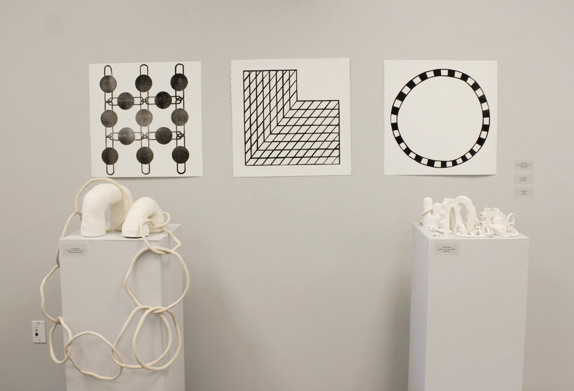 "left to right:  I got my mind on my shapes, my shapes on my mind, m onoprint 22"" x 22""; Physical Ideas, monoprint 22"" x 22""; 90's Kid, monoprint  22"" x 22""  Spring 2017 Selected Works: Current UT Tyler Studio Art Exhibition, UT Tyler, TX"