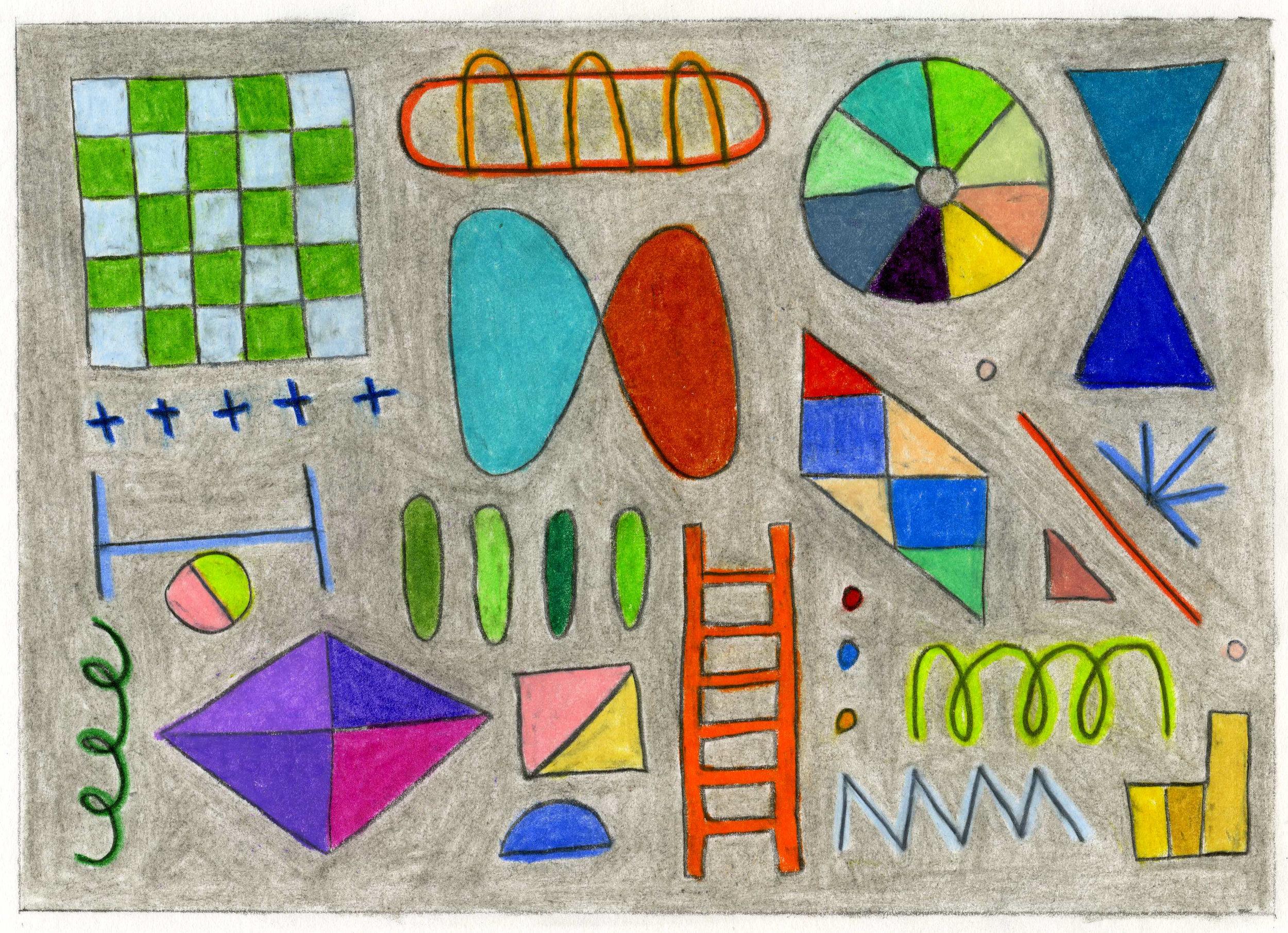 "Playground   3.875"" x 5.5""  colored pencil and graphite on bristol paper  2019"