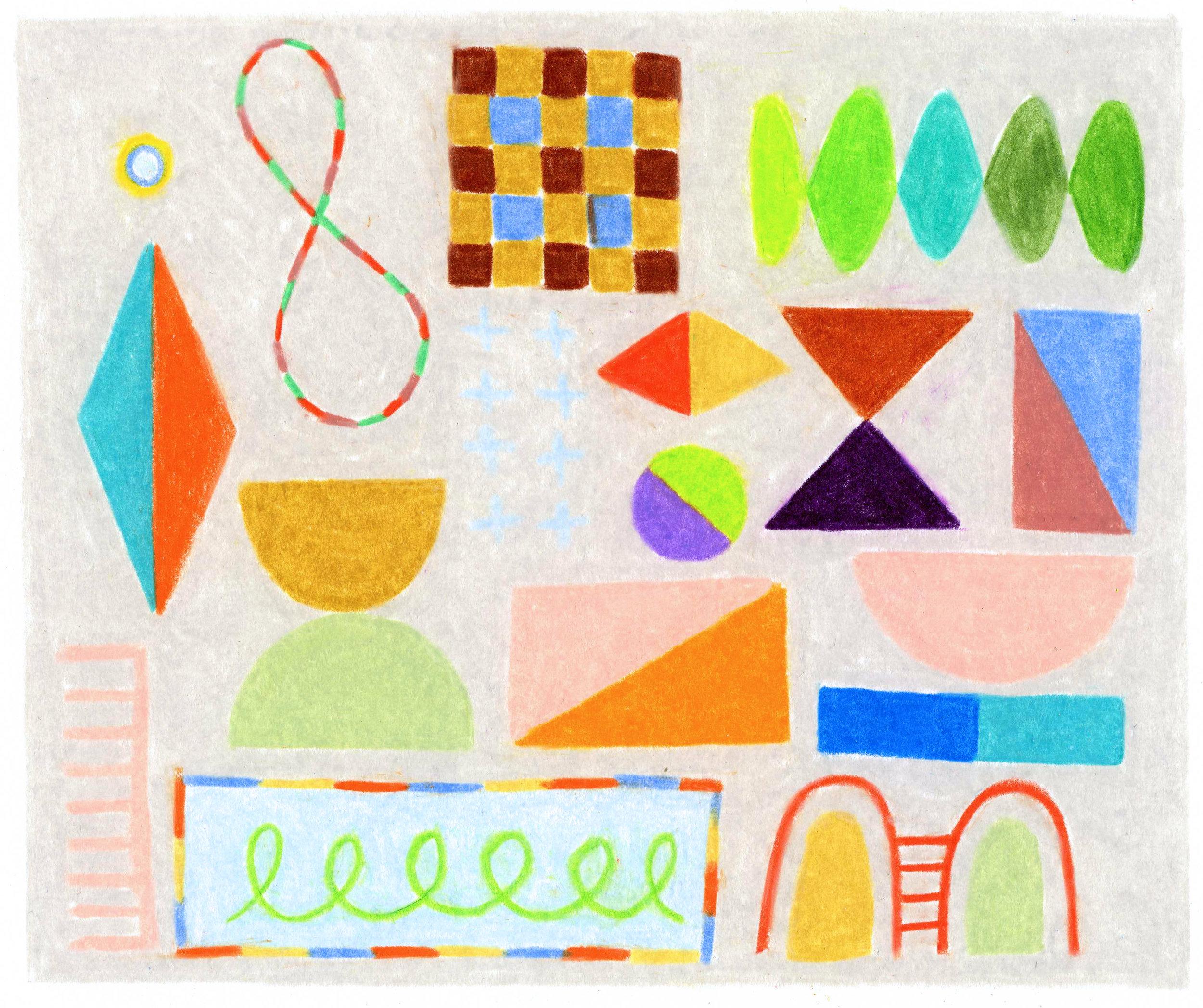 """Colored Blocks   4.125"""" x 4.875""""  colored pencil on bristol paper  2019"""