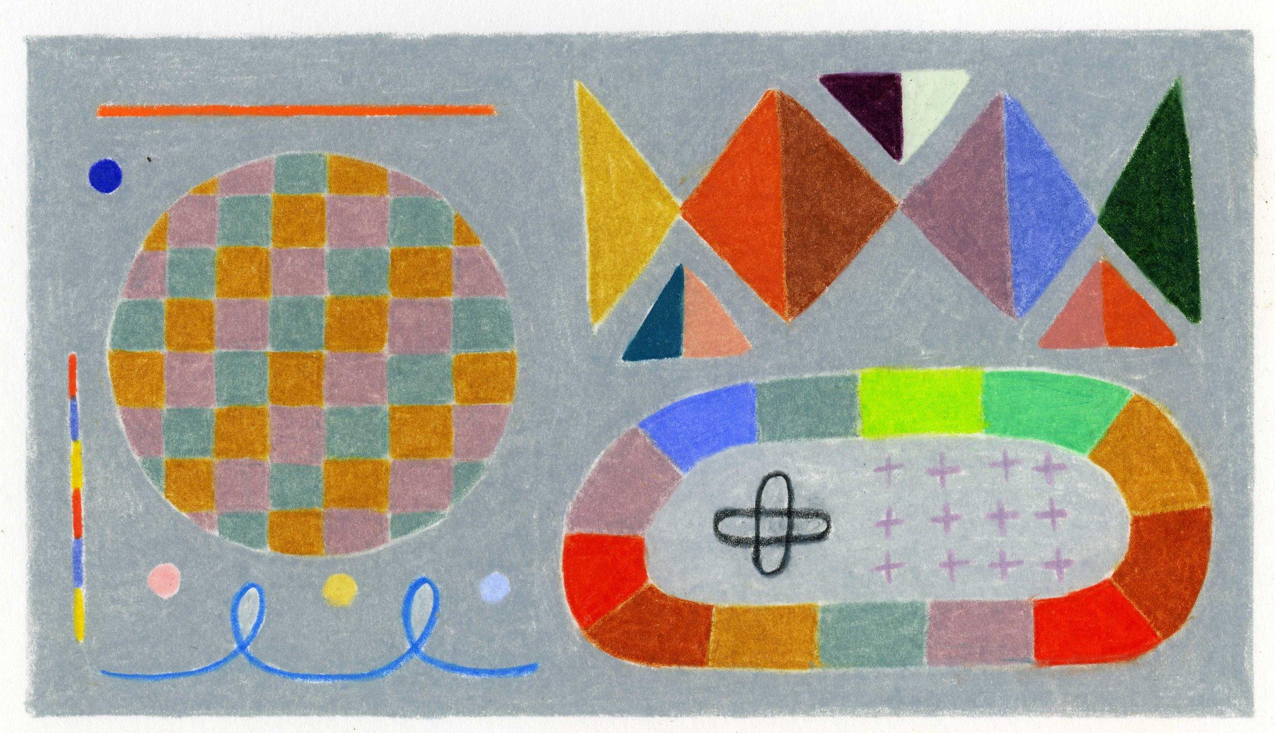 """Adrienne   3.75"""" x 6.625""""  colored pencil on bristol paper  2019"""