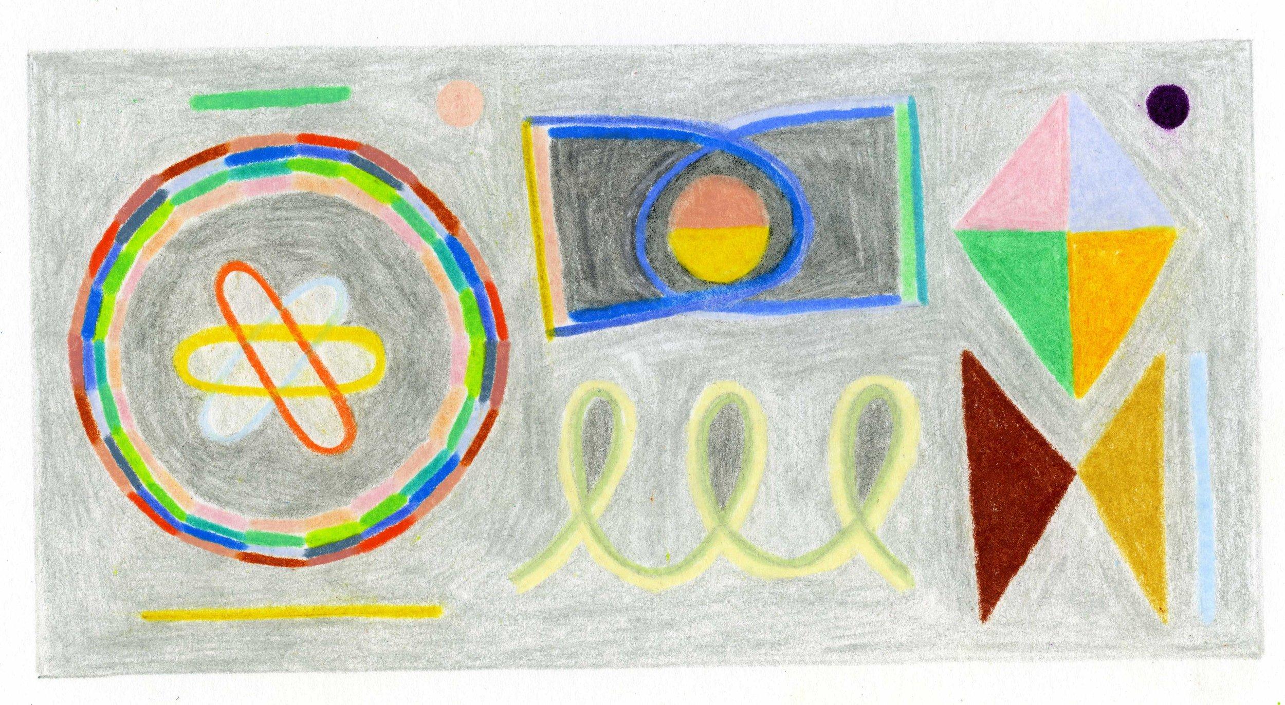 "Mid Century Science   3.5"" x 6.75""  colored pencil on bristol paper  2019"