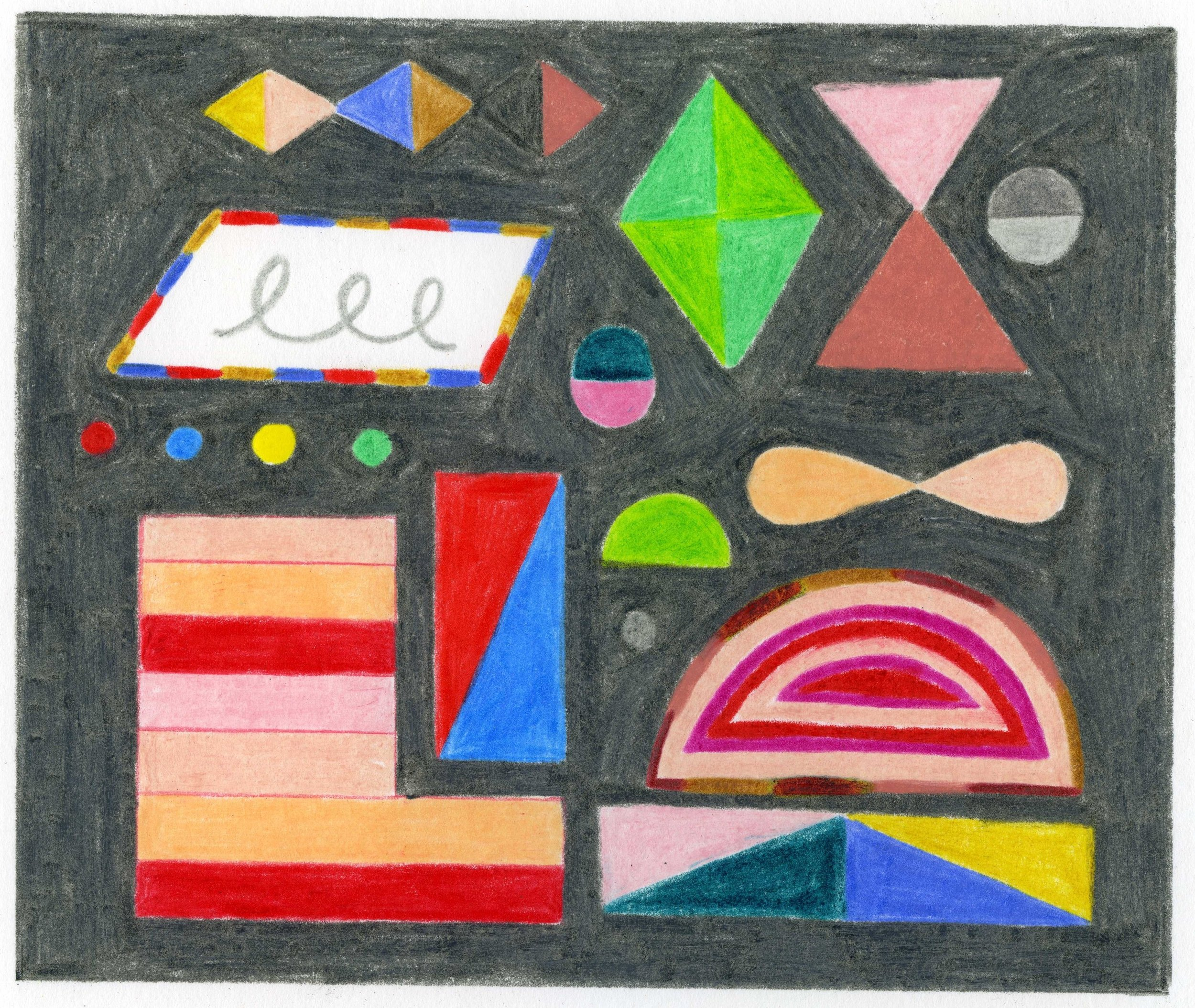 """Arcade Lights   4.75"""" x 5.625"""" drawing on 9"""" x 12"""" paper  colored pencil on bristol paper  2019"""