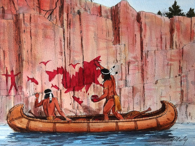 PAINTING ROCK BY CANOE | Enemy Arrows by Will O'Hara | illustration by artist Tom McNeely
