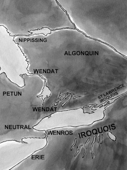 Map showing the nations in southern ontario and northern new york state | enemy arrows by will o'hara