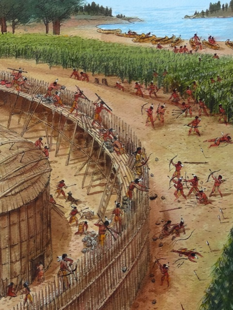 Iroquois Enemy battle at a longhouse | Attack on fort | enemy arrows by will o'hara