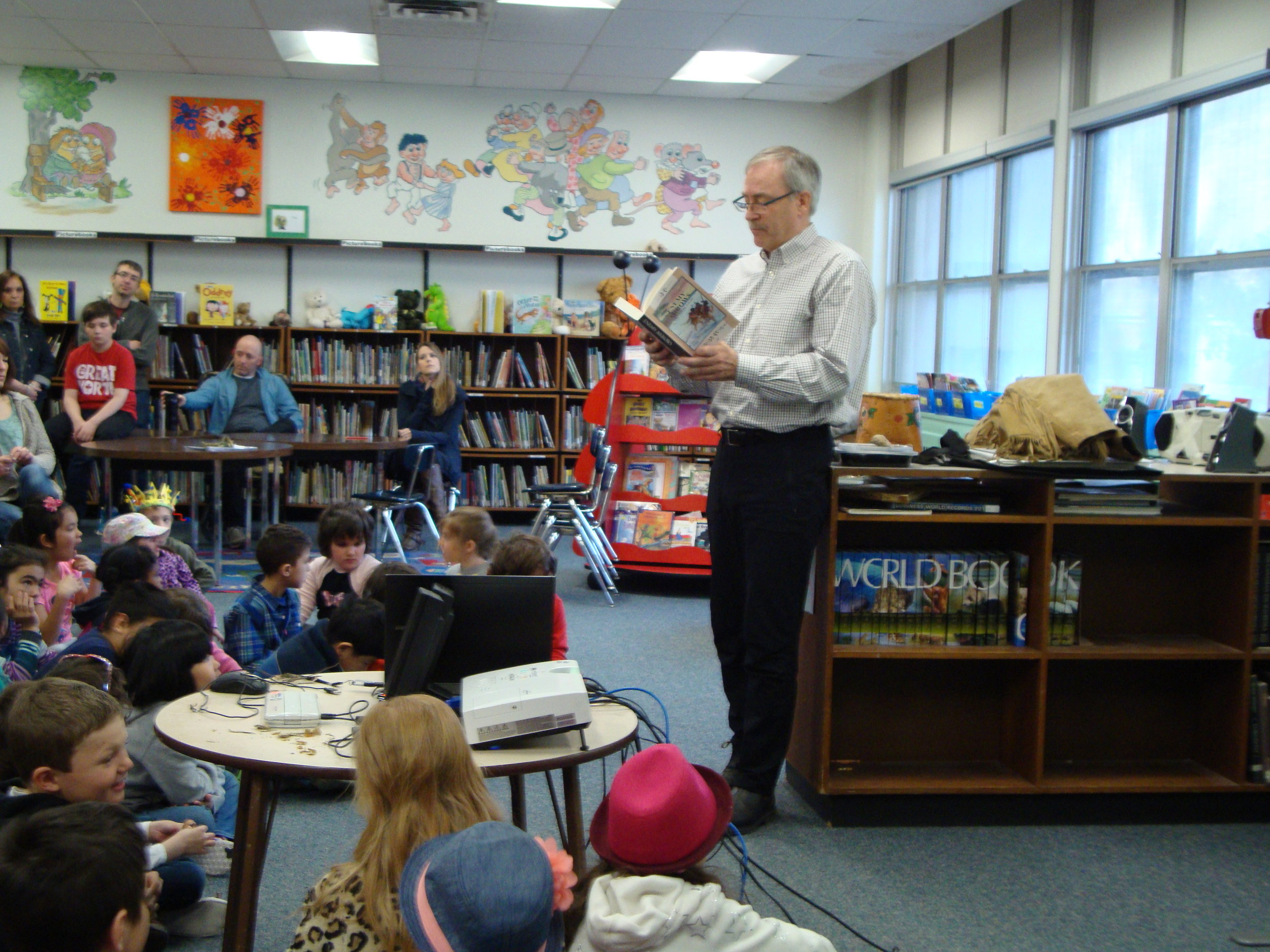 Author Will O'Hara visits a classroom to present his book Enemy Arrows