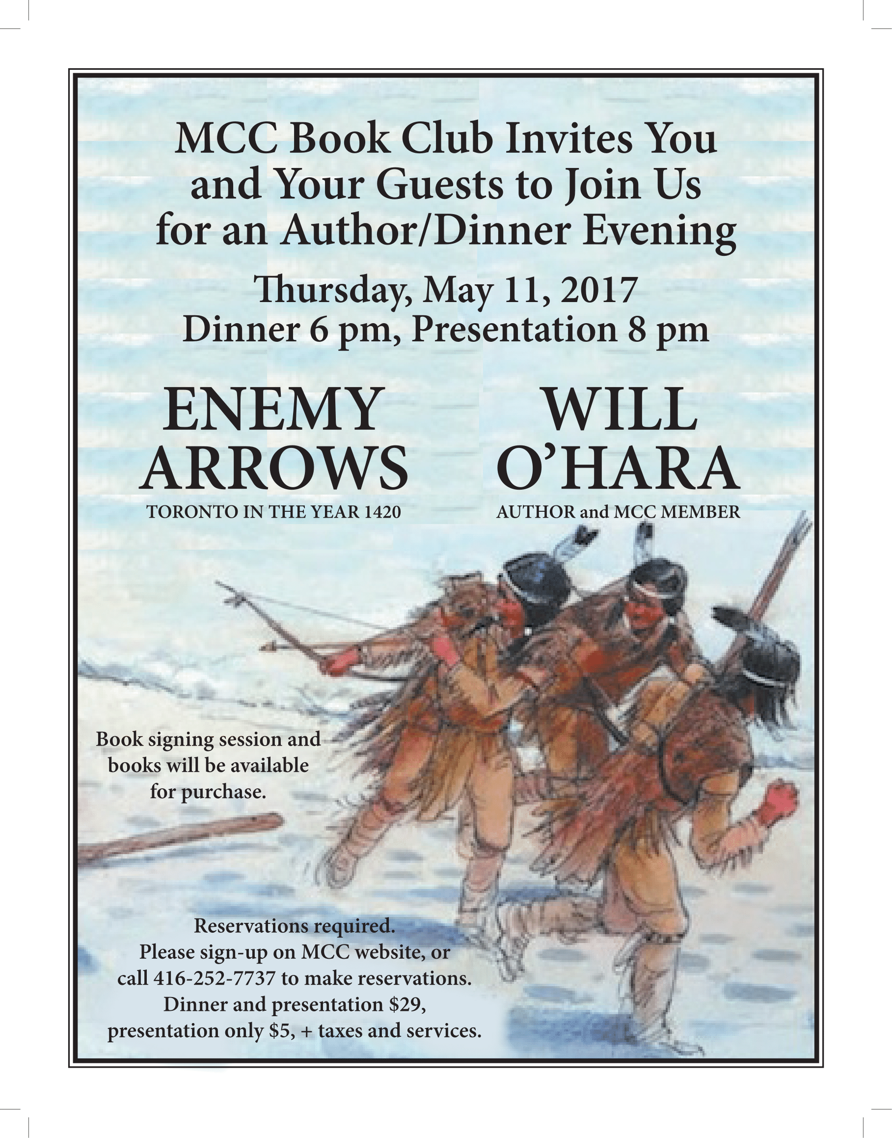 Enemy Arrows book launch featuring author Will O'Hara at Mimico Cruising Club in Toronto