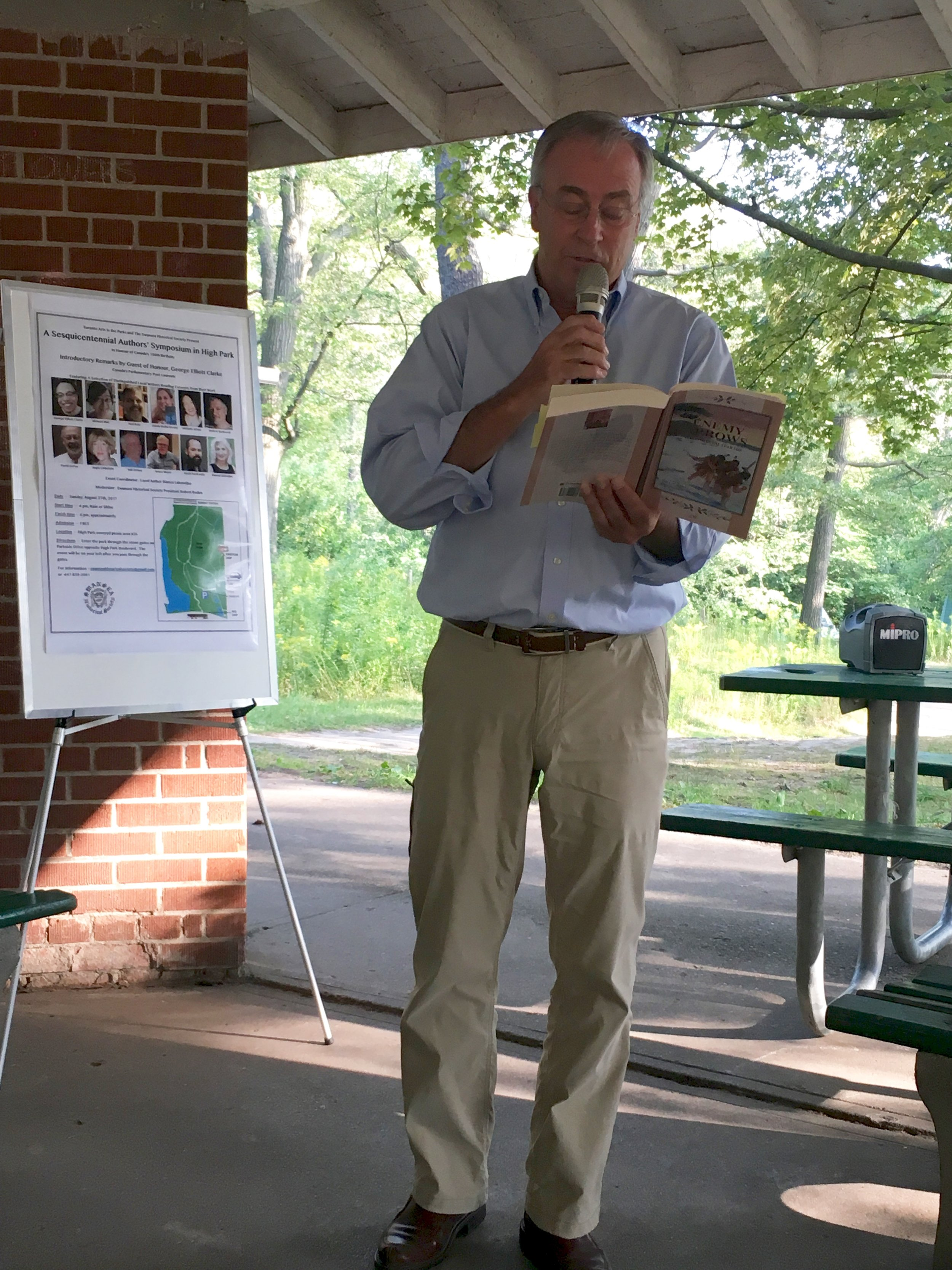 Author Will O'Hara reading from his book, Enemy Arrows