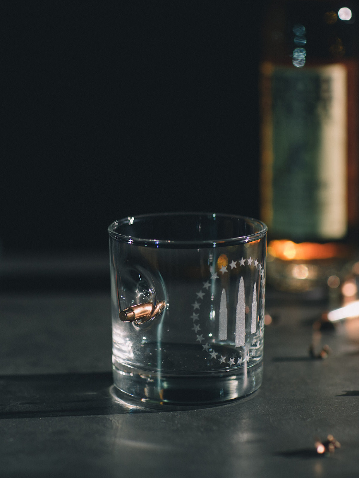 HAND MADE GALLANT BULLETS WHISKEY TUMBLER WITH REAL BULLET IN GLASS
