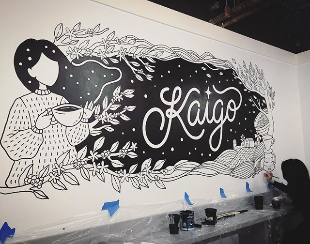Helping out my very talented and beautiful friend @byloelee tonight with her mural at the great @kaigocoffee Super fun joining her tonight! #mural #signpainting #craft #art #illustration #design #graphicdesign #teamwork #muralart #painting #blackandwhite #handcrafted