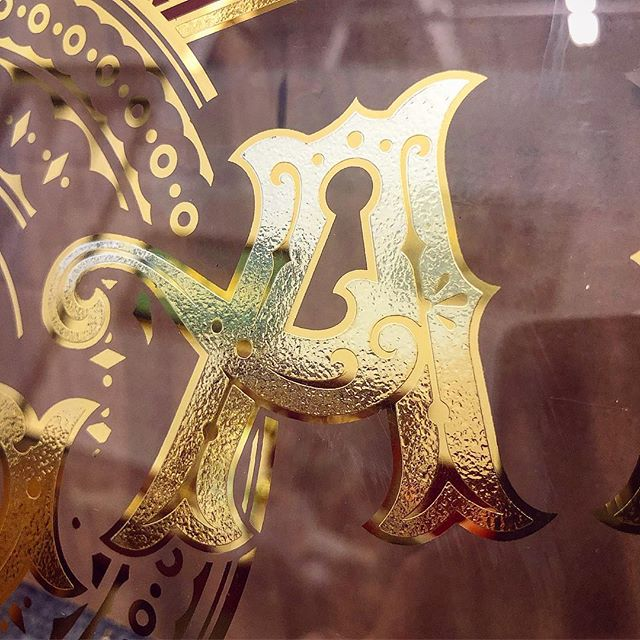 Some stuff glass Im working on. Goodnight! #A #craft #reverseglass #societyofgilders #signpainting #acid #acidetching #glassembossing #gold #goldleaf #mirror #24k #design #lettering #typography #graphicdesign #victorian #victoriandesign #ephemera #art