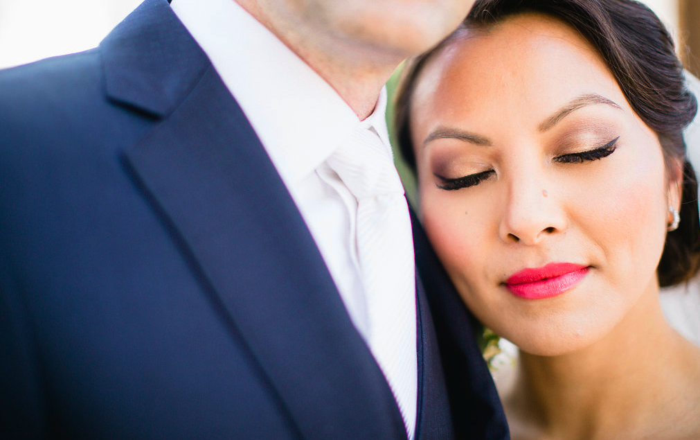 Asian Bridal Makeup with Simple Eyeliner and Red Lipstick featuring an updo with veil. Wedding Hair and Makeup by Vanity Belle in Orange County (Costa Mesa) and San Diego (La Jolla)