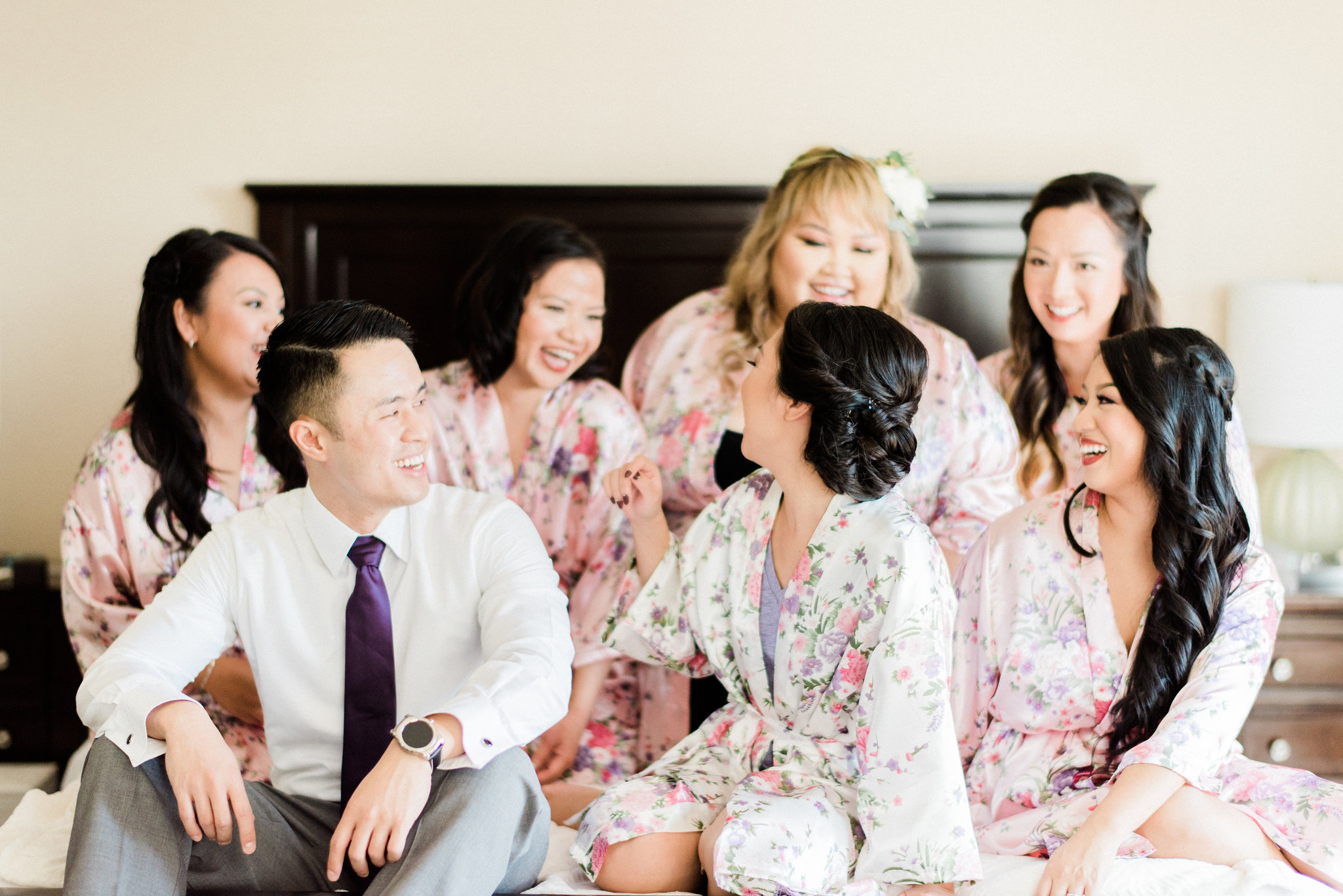 Candid Photos with Asian Bride, Husband and Bridesmaids in Floral Robes