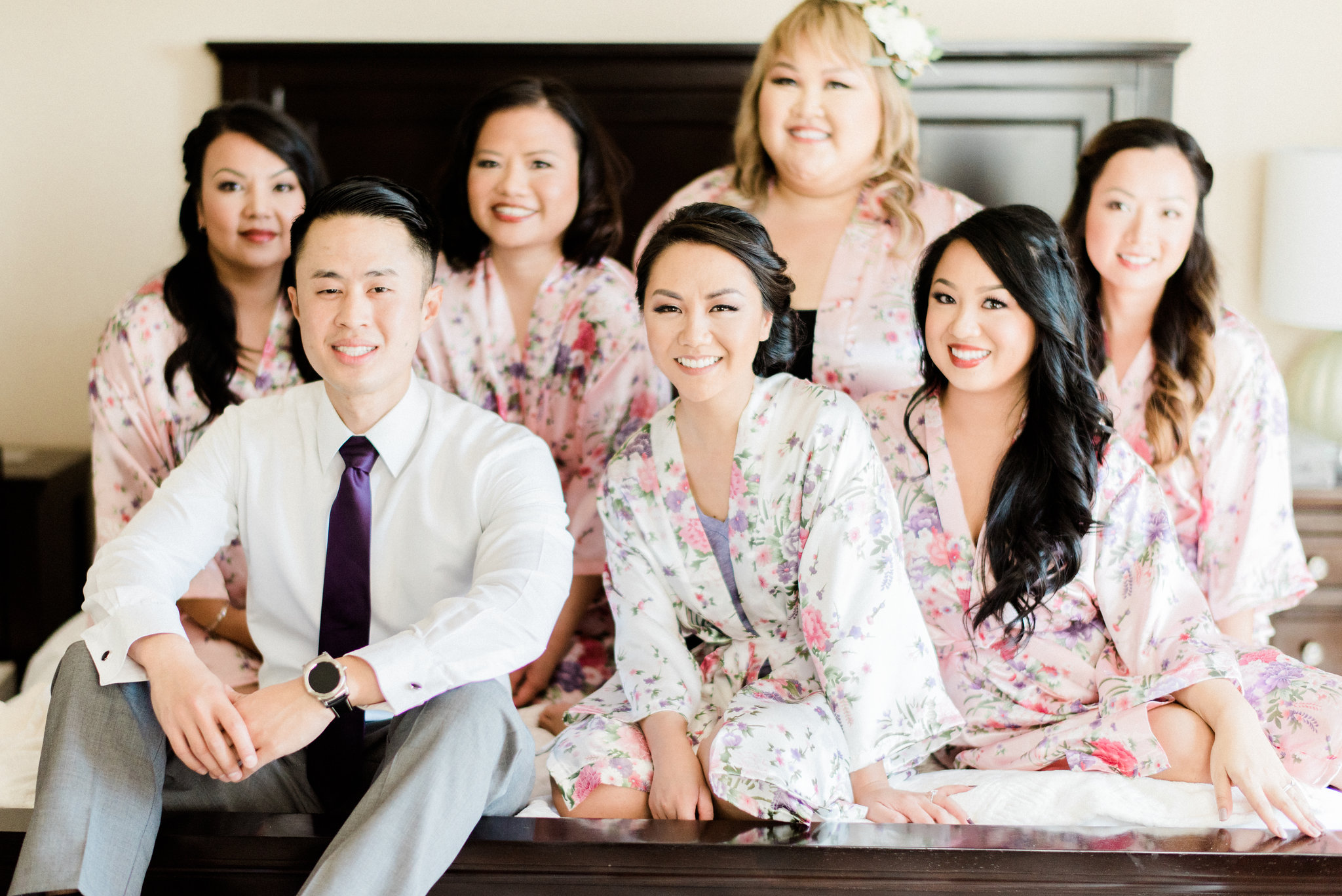Asian Bride with Husband and Bridesmaids in Floral Robes