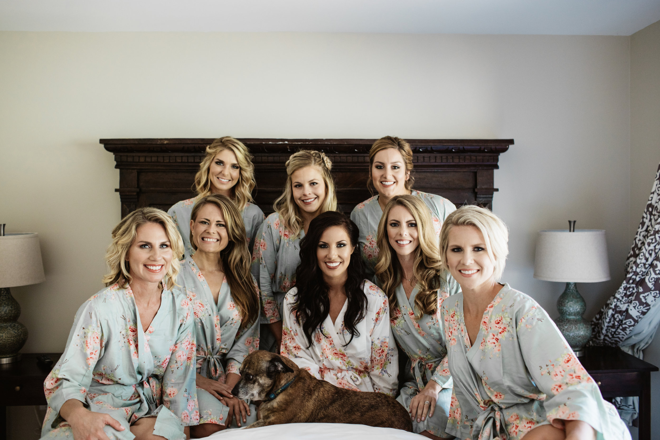 Morning of Wedding Bridesmaids Floral Robes with Hair and Makeup