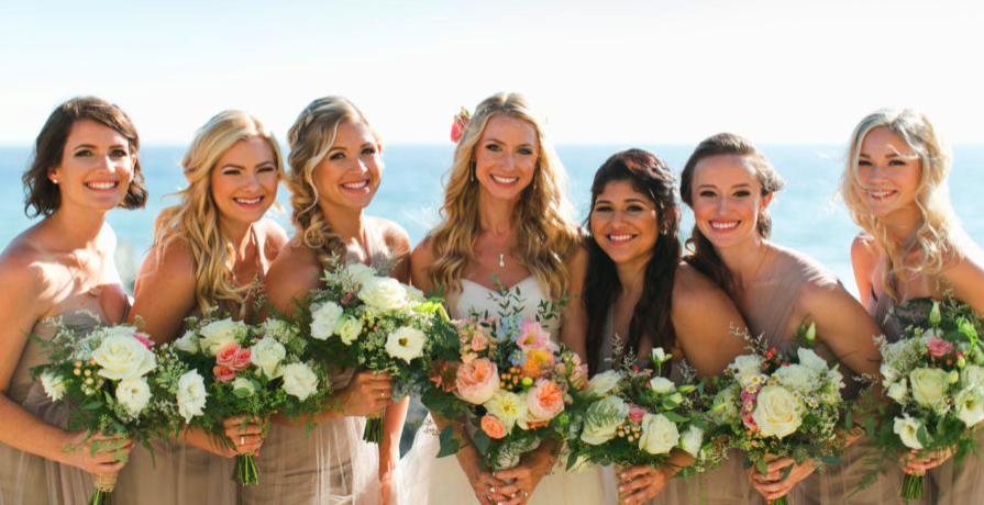 Outdoor Beach Wedding Photos with Bridal Party Hair and Makeup