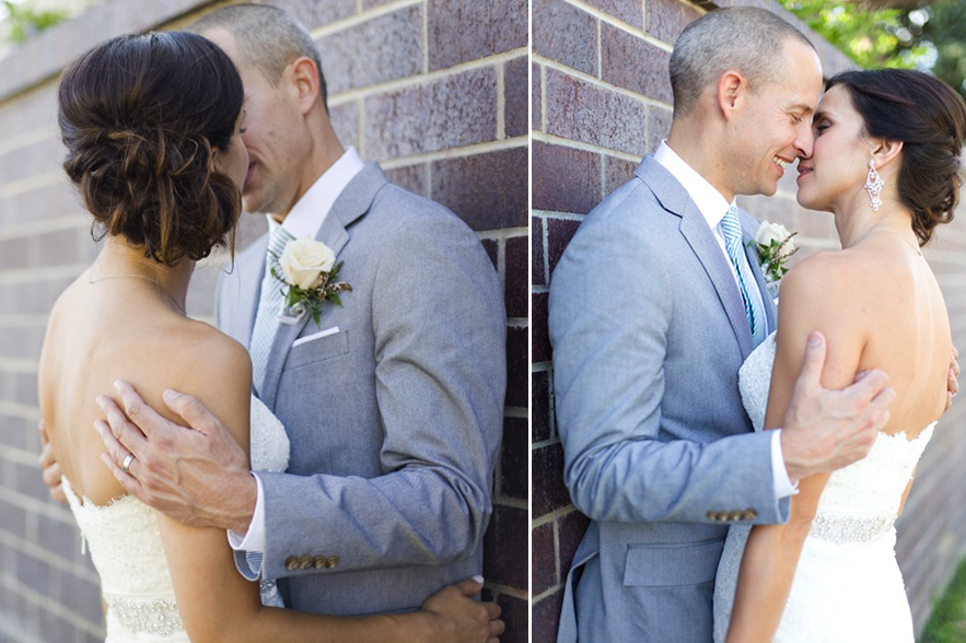 Brunette Bride with Updo Hairstyle Kissing Husband in Wedding Photos outside. Bridal Hair and Makeup by Vanity Belle in Orange County (Costa Mesa) and San Diego (La Jolla)