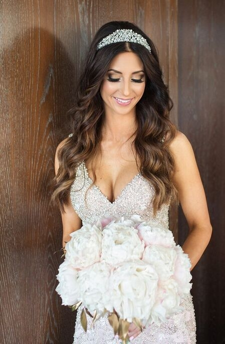 Brunette Bride with Long Hair Down, Tiara Smokey Eye Makeup, bouquet and beaded wedding dress. Bridal Hairstyles and Beauty by Vanity Belle in Orange County (Costa Mesa) and San Diego (La Jolla)
