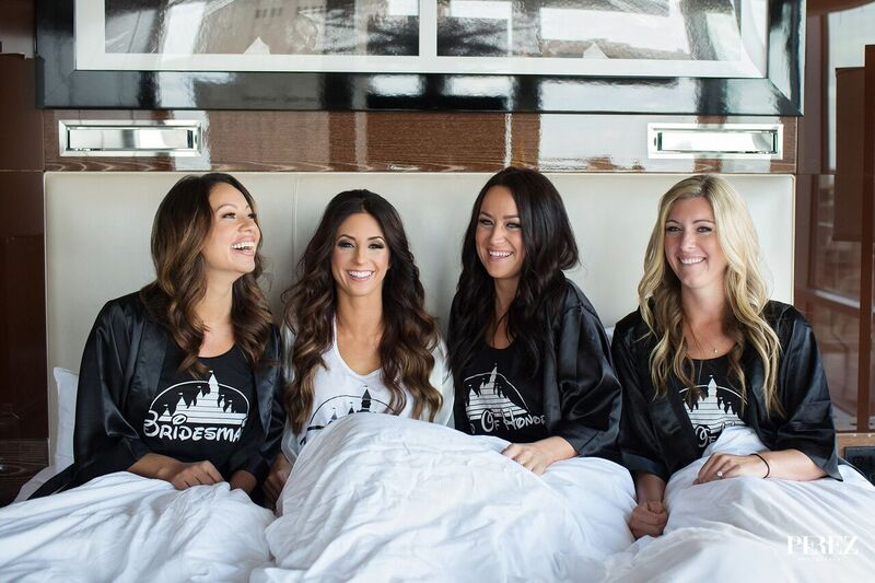 Disney Bridesmaids Shirts Posing with Hair and Makeup on Morning of Wedding