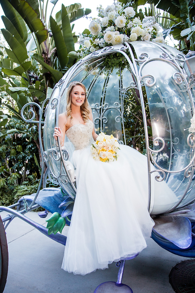Fairy Tale Wedding Photography with Bride in Cinderella Carriage. Bridal Hair and Makeup by Vanity Belle in Orange County (Costa Mesa) and San Diego (La Jolla)