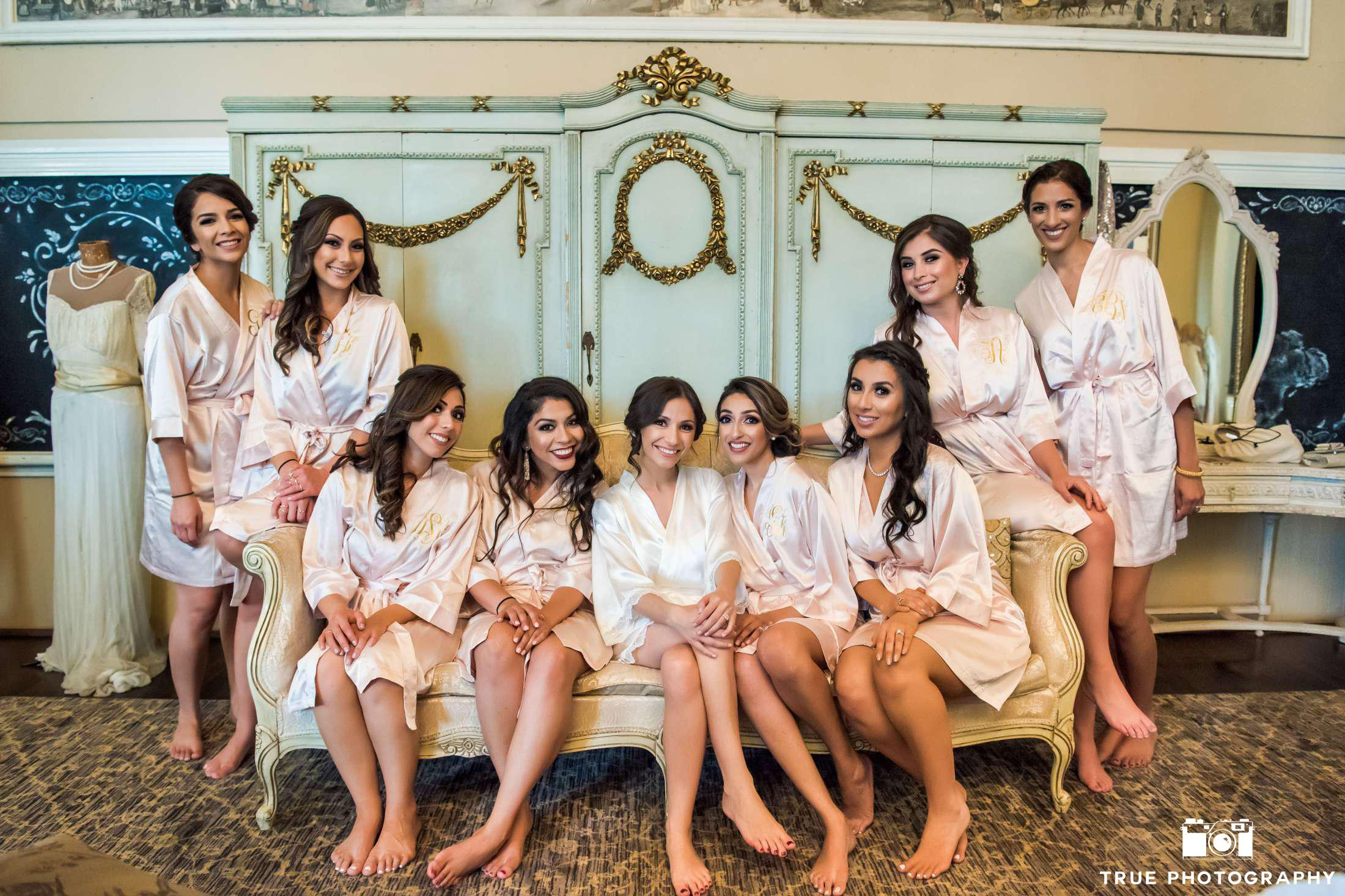 Morning of Wedding Bridesmaids in Robes with Makeup and Hair