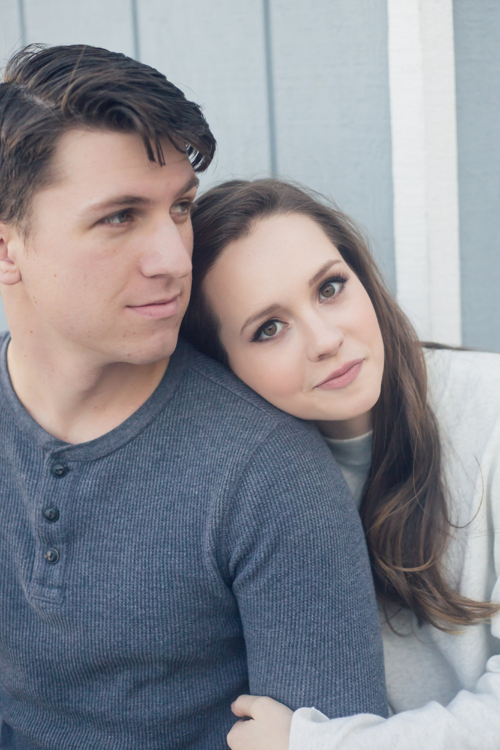Simple Engagement Photos with Couple Posing with Hair and Makeup.Hair and Makeup done by Vanity Belle in Orange County (Costa Mesa) and San Diego (La Jolla).