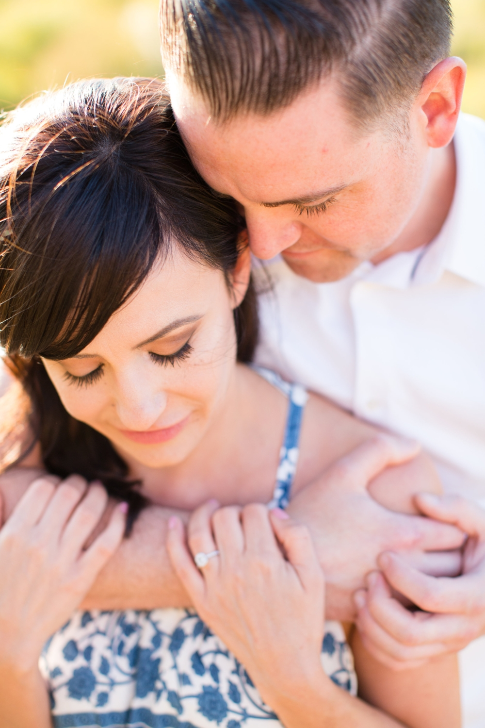 Romantic Engagement Photography with Ring and Eyelash Extensions. Hair and Makeup by Vanity Belle in Orange County (Costa Mesa) and San Diego (La Jolla).
