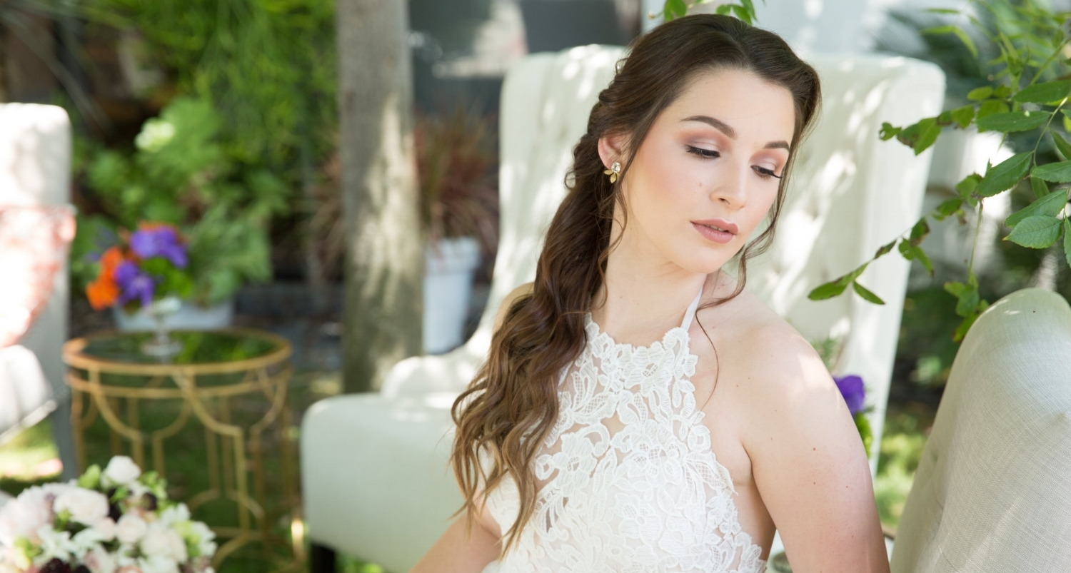 Wedding photographywith brunette bride and brown eye makeup. Long bridal hairstyle and natural beauty by Vanity Belle in Orange County (Costa Mesa) and San Diego (La Jolla)