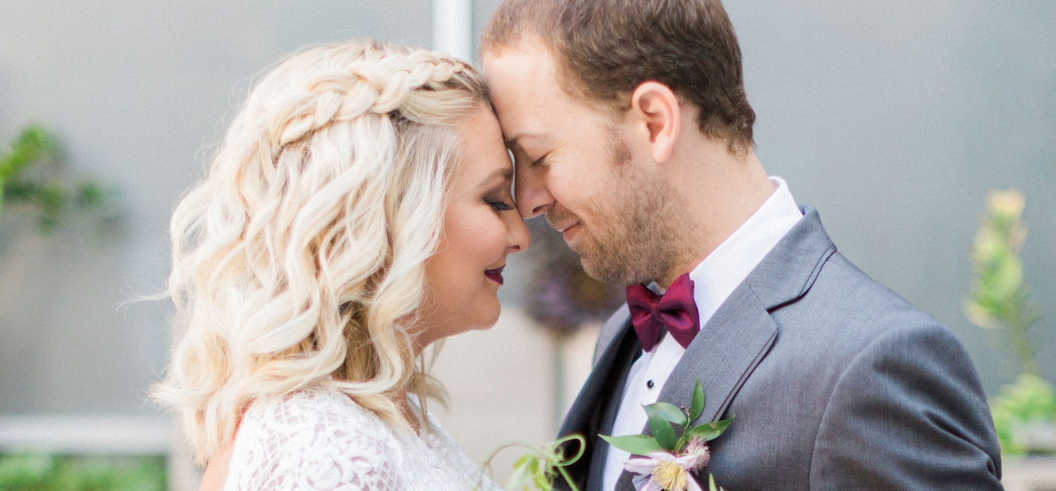 Blonde Bridal Wedding Photos with Braided Curled Hair Down and Red Lipstick. Wedding Hairstyles and Makeup by Vanity Belle in Orange County (Costa Mesa) and San Diego (La Jolla)