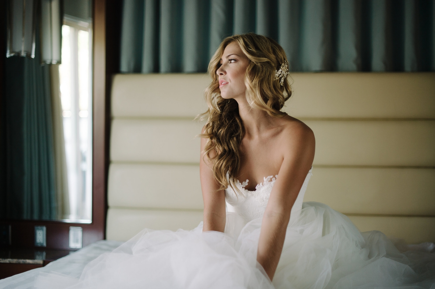 Wedding Photos with Blonde Long Hair Down. Bridal Hairstyles and Makeup by Vanity Belle in Orange County (Costa Mesa) and San Diego (La Jolla)