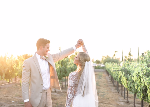 Wedding Photo Ideas Outdoors at Vineyard with Husband and Wife. Bridal Hair with Veil and Professional Makeup by Vanity Belle in Orange County (Costa Mesa) and San Diego (La Jolla).