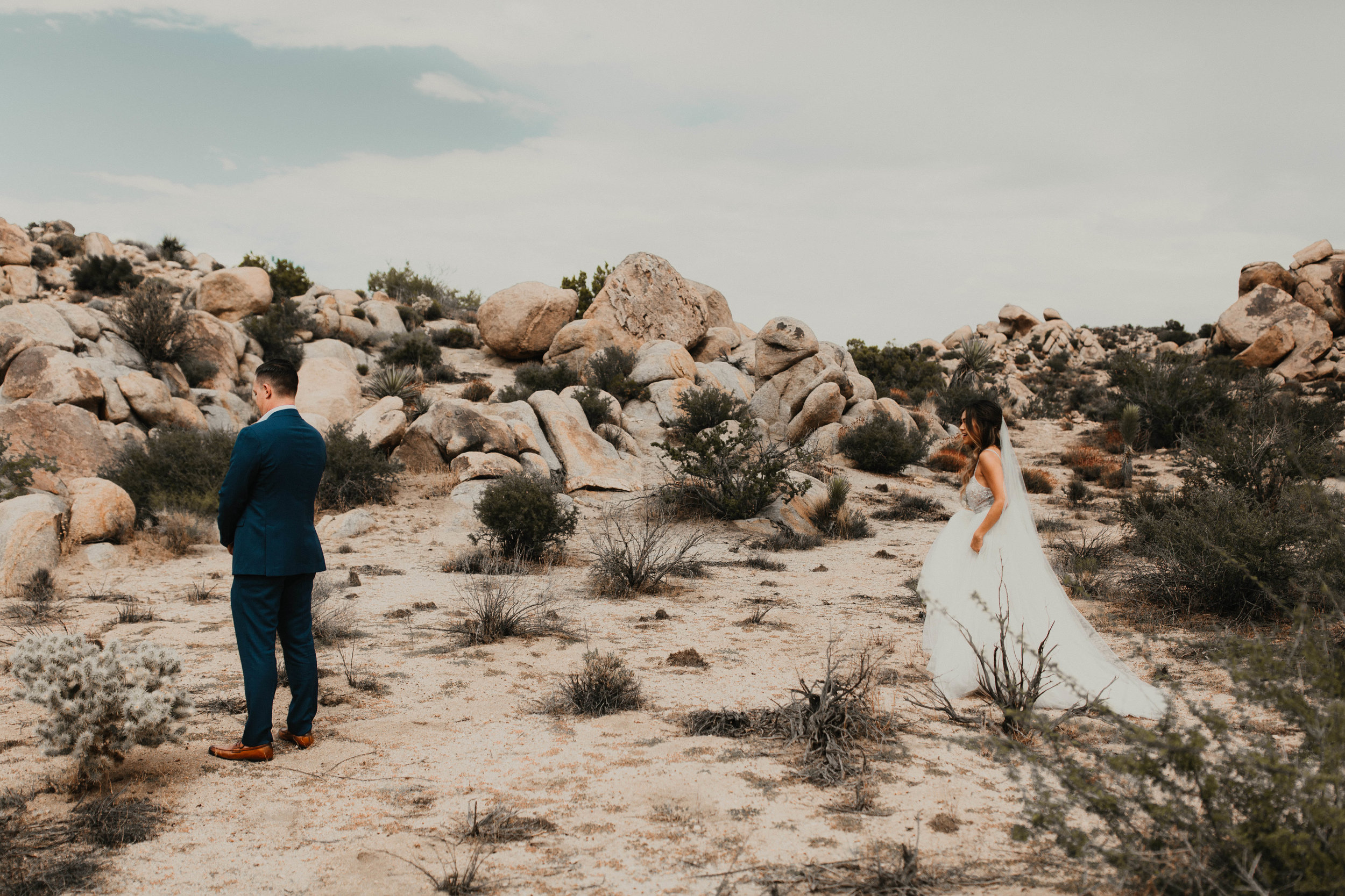 Bride and groom, first look, wedding inspiration, wedding goals, desert wedding, outdoor wedding. Wedding Hair and Makeup by Vanity Belle in Orange County (Costa Mesa) and San Diego (La Jolla)